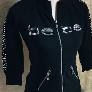 Bebe Black Rhinestones Sexy Black Zip Up Jacket S